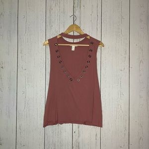 Forever 21 edgy mauve tank top (L)